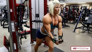 Delts and chest - SUPER POWERFUL Brooke's pecs on display!  Get the 2 new videos today!