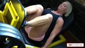 Powerful legs on the leg press.  Christine is a beast!