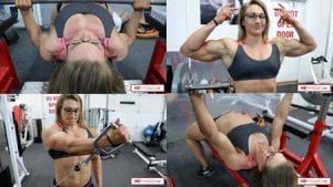Amazing CHEST and BICEPS - unreal power by Beefynuggs in this latest video in her Clips Studio!