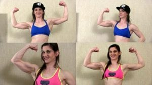 """Muscle Beauties releases an impressive new video of newcomer """"Rae"""" and her gorgeous biceps.  Get it today as part of our huge JUNE PROMOTION Summer kickoff - only 10 days left!"""