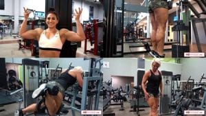 """Kayleigh Padilla, sexy latina muscle, joins big and powerful Christine Moyer for some awesome gym training. The first of many """"Quartet of Muscle"""" vids on the way featuring these two, plus Brooke Walker & Jordan Hartsell!"""