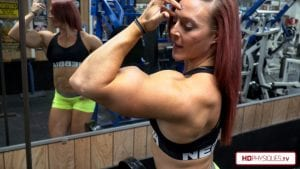 Katie Lee's biceps are so sharply peaked, it' almost looks fake!  But it's not!  Get this amazing 4K Resolution video now - over 4x the quality of FULL HD!
