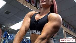 HUGE, powerful chest, thick triceps, massive delts - Katie Lee in 4K - it doesn't get better than this - Get this new video today!