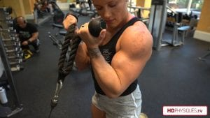 Look at those BIG DELTS and Biceps!  Get the new video today at the Hailey Delf's Peak Freak of Fizeek Clips Studio!
