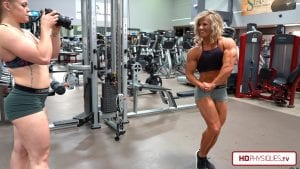 Jordan Hartsell shooting Brooke Walker, who is super ripped and muscular, in the latest video in Brooke's Clips studio. Get it today!