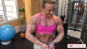 Hailey is getting MASSIVE and loves flexing her enormous muscles!  Get this sizzlin' hot new power-packed video right now!