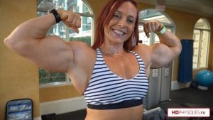 """Massive Katie Lee and her arms, nearing 18"""" again, in the latest video in her Peak Power Studio!  Click here to get her new video today!"""