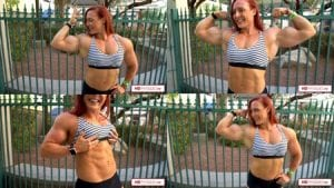 "Get this AMAZING and super HOT new video of Katie's 18"" guns today!"