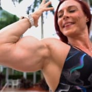 Katie Lee by the Pool Flexing some MASSIVE BICEPS – New Video!