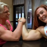 MASSIVE Steph Marie in an ArmWrestling Battle Against Katie Lee!